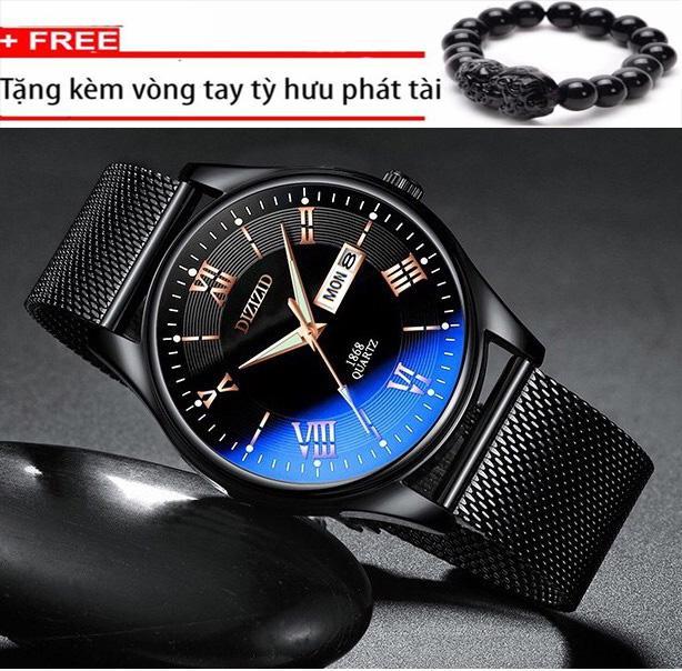 Nơi bán Đồng hồ nam DIZIZID DHN07 dây thép lụa đen thiết kế tinh tế sang trọng lịch lãm - TẶNG vòng tỳ hưu may mắn