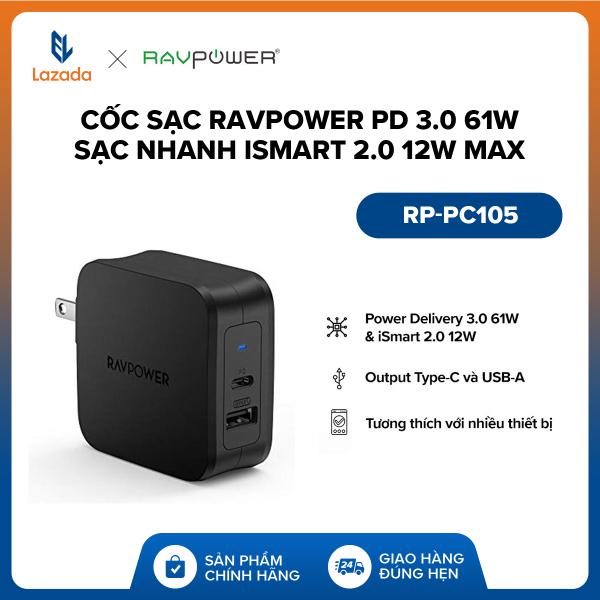 Giá [FREESHIP - 18 THÁNG 1 ĐỔI 1 - ĐỘC QUYỀN LAZADA] Cốc sạc RAVPower PD 3.0 61W l Sạc nhanh iSmart 2.0 12W Max l Output Type-C & USB-A l RP-PC105 l HÀNG CHÍNH HÃNG