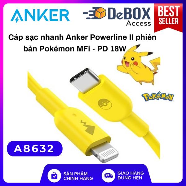 Cáp sạc nhanh ANKER x Pokemon MFi USB-C Apple PD dài 0.9m - A8632 Bảo hành 12T