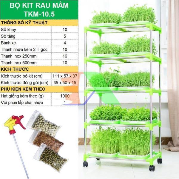 Bộ kit trồng rau mầm thủy canh chuyên dụng TKM-10.5, Gồm Khay, Giá đỡ, Vòi xịt, Hạt giống sản phẩm làm bằng nhựa PP nguyên sinh, có độ bền cao không độc hại