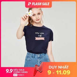 Áo Thun Tay Ngắn T-shirt Nữ GIORDANO Cổ Tròn In họa tiết chữ 100% cotton Mềm mại màu Thuần 05391203 thumbnail