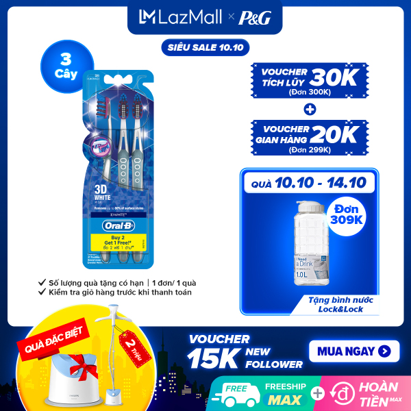 [10-14.10 Quà khi đủ điều kiện] Vỉ 3 Bàn Chải Đánh Răng Oral-B 3D White Toothbrush