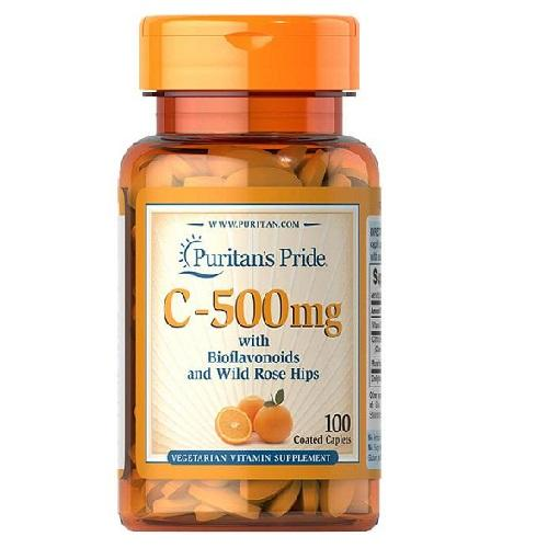 Viên uống bổ sung vitamin C tăng cường miễn dịch, chống lão hóa cho cơ thể, giúp da nhanh liền sẹo thâm Puritans Pride C-500mg 100 viên HSD tháng 5/2021 chính hãng