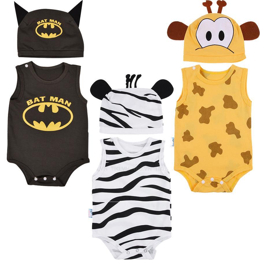 Combo 3 bộ Bodysuit hình thú ngộ nghĩnh cho bé ( khách được chọn bé trai hay gái) - Mihababy - BDS_CB