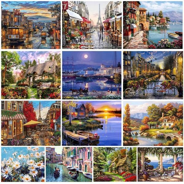 Tranh tô màu theo số CÓ KHUNG  40x50 cm phong cảnh có sẵn