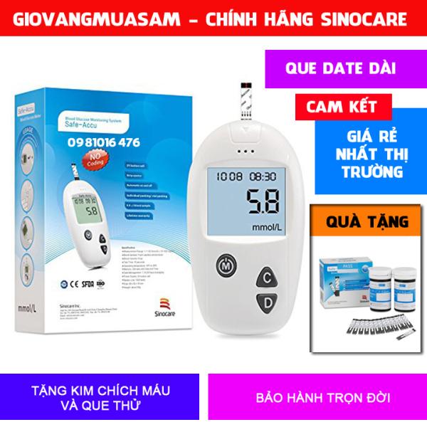 Máy đo đường huyết SINOCARE Safe Accu tặng hộp 50 kim chích và 25 que thử đường huyết