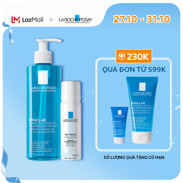 Bộ sản phẩm làm sạch sâu và làm dịu da cho da dầu mụn La Roche-Posay Effaclar