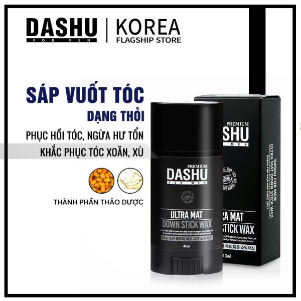 Sáp vuốt tóc dạng thỏi Dashu for Men Premium Ultra Mat Down Stick Wax 40g khắc phục tình trạng tóc xù, cong, vểnh, khó vào nếp, thành phần chứa vitamin phục hồi tóc, ngăn ngừa hư tổn, tiện dụng khi di chuyển, đi du lịch.