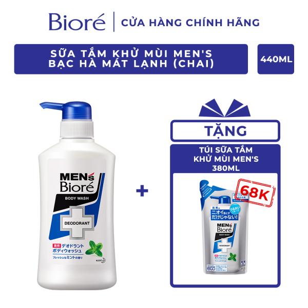 Sữa Tắm Khử Mùi Mens Bioré - Bạc Hà Mát Lạnh (Chai) 440ml Tặng Sữa Tắm Túi 380ml
