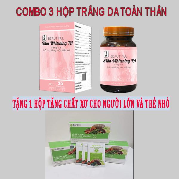 COMBO 3 Hộp Viên Uống Trắng Da Nhanh Hiệu Quả - Tặng 1 Hộp chất xơ hiệu quả , chất lượng cao