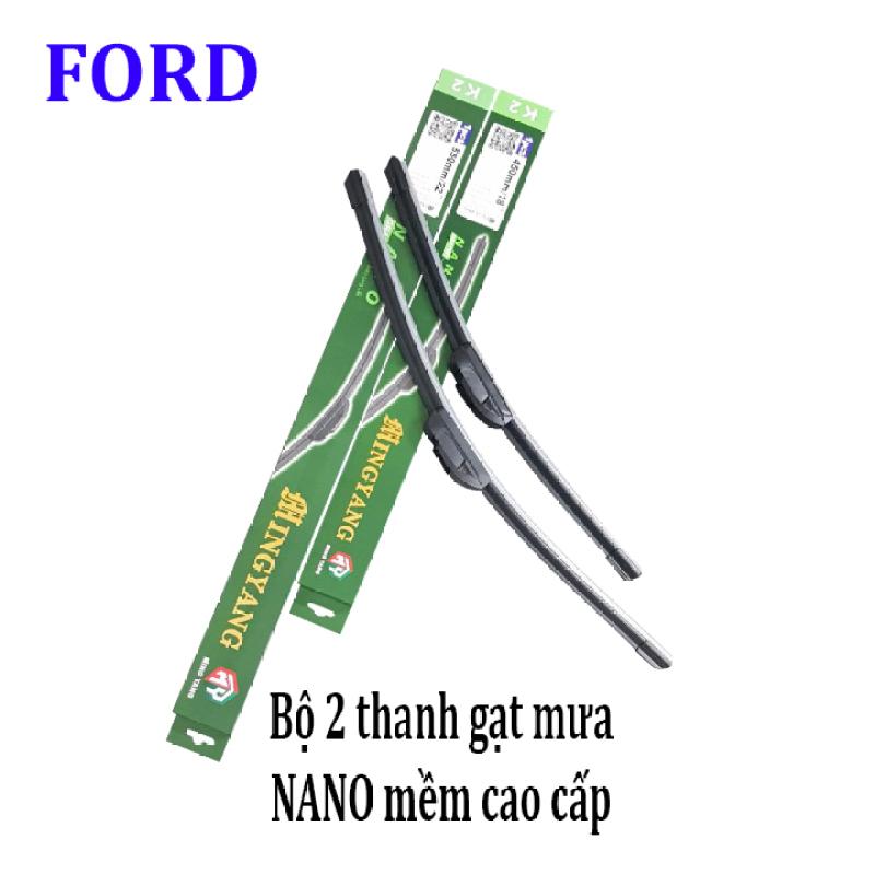 Bộ 2 thanh gạt nước mưa ô tô Nano mềm cao cấp dành cho hãng xe Ford: Transit-Ecosport-Everest-Focus-Fiesta-Ranger-Mondeo-Escape-Mustang