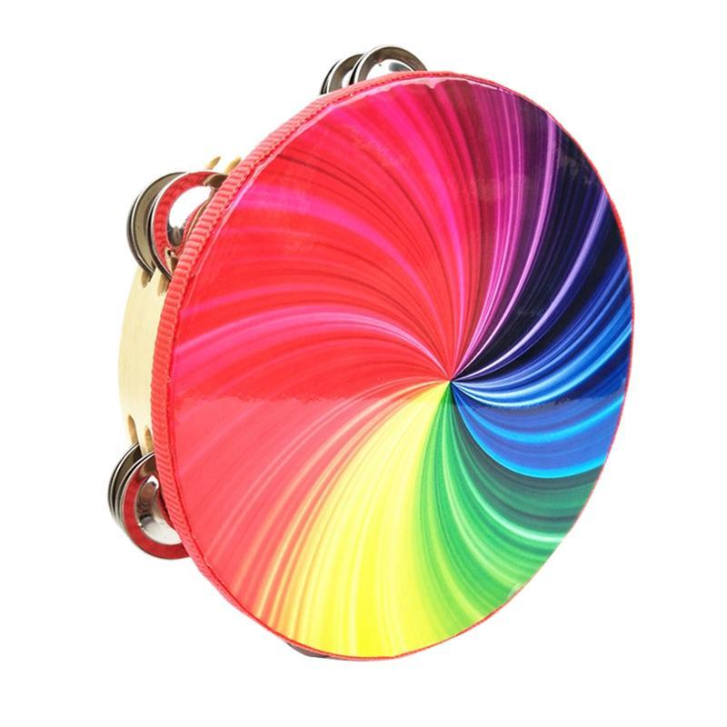 10-Inch Percussion Instrument Double-Row Color Tambourine Rainbow Tambourine Performance Hand-Cranked Instrumental Props