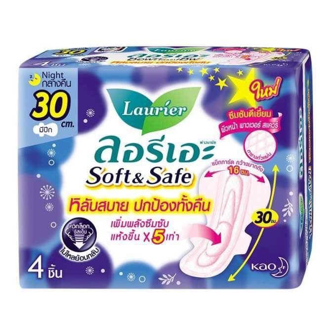 01 BVS ban ĐÊM Laurier Thái Lan Soft & Safe (gói 4 sp) - 30cm cao cấp