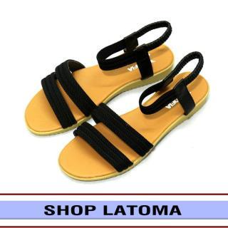 Giày sandal nữ, giày nữ quai hậu, dép sandal 2 quai ngang, đế cao 3 phân đi chơi hay đi học đều được thời trang cao cấp Latoma TA0311 (Đen) thumbnail