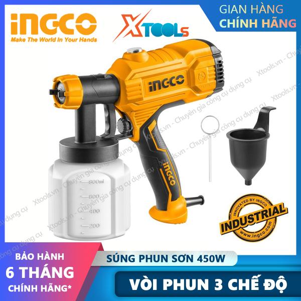 Máy phun sơn INGCO SPG3508 công suất 450W Súng phun sơn áp suất phun 0.1-0.2bar bình chứa 800ml độ nhớt tối đa 50DIN [XTOOLs][XSAFE]