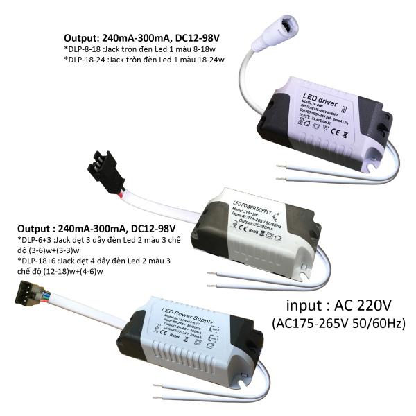 10 Nguồn driver tăng phô chấn lưu đèn Led trần panel ốp nổi hoặc âm 3w-24w jack tròn hc dẹt DLP-x-x