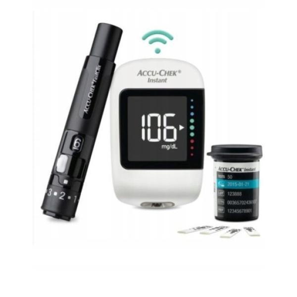 Bộ máy đo đường huyết Accu-Chek Instant Mmol/L, sử dụng công nghệ mao dẫn với vùng lấy máu rộng, giúp việc hút máu vào que dể dàng bán chạy