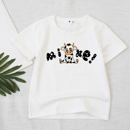 áo thun cotton dày mịn cho bé trai bé gái-in hình bò sữa mite(size 5-55kg)
