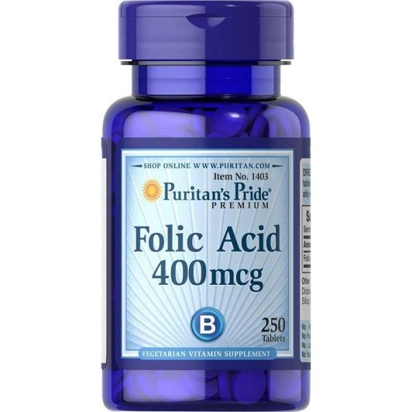 [ Hàng nhập khẩu ] Viên bổ máu chất lượng Folic Acid 400 mcg Puritan's Pride - 250 viên cao cấp