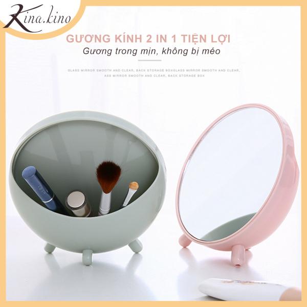Gương trang điểm để bàn 2in1 siêu tiện lợi- KinaKino phukienlamdep giá rẻ