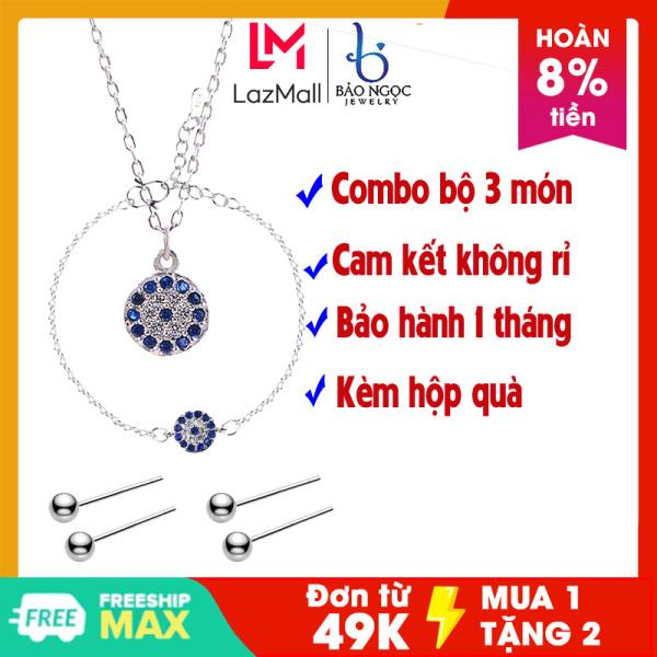 Combo bộ 3 nhẫn dây chuyền bông tai phong cách thời trang hiện đại - Bảo Ngọc Jewelry