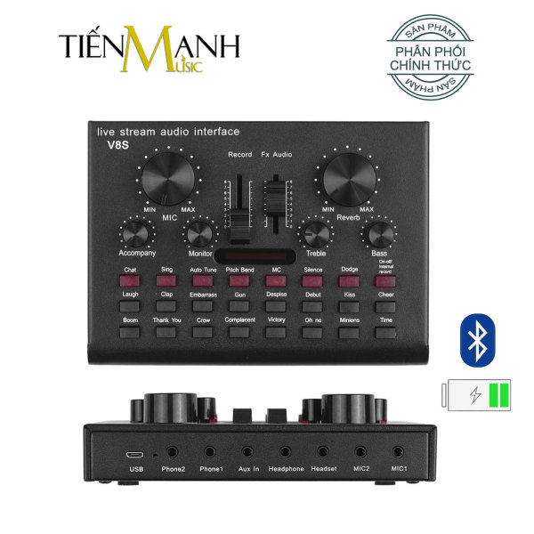 Sound Card Thu Âm Thanh, Livestream, Hát Karaoke Cuvave V8S - Bluetooth Pin Sạc USB Audio Interface Soundcard Auto Tune