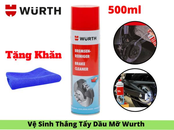 Dung Dịch Vệ Sinh Thắng Xe Tẩy Dầu Mỡ Bụi Bẩn Wurth Brake Cleaner 500ml Tặng khăn