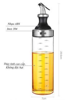 01 Chai dầu, Lọ, Bình đựng dầu ăn thủy tinh 600ml hình Bình Sữa Oil Can đựng dầu ăn, giấm, nước tương, nước mắm, gia vị, miệng vòi nhỏ giọt thumbnail