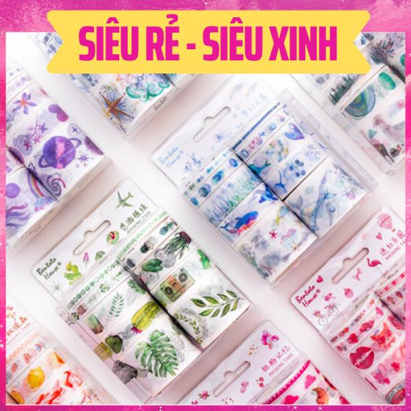 Mua Set 10 Cuộn băng dính Băng Keo Washi Tape Trang Trí Planner Nhiều Chủ Đề