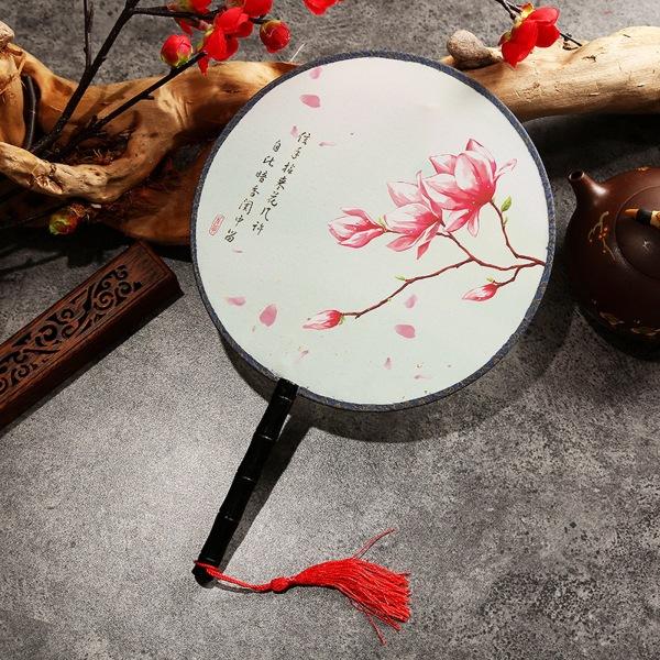 Quạt tròn cổ trang loại nhỏ, Quạt tròn cầm tay phong cách cổ trang Trung Hoa trang trí quà tặng trưng bày