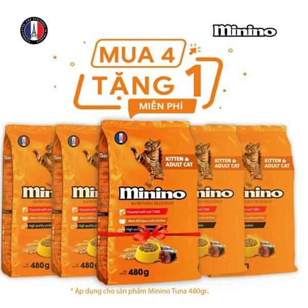 Hot!!! Mua 4 Tặng 1 gói cùng loại - Minino Tuna Flavored 480 gram- Date Xa: 1/ 2021
