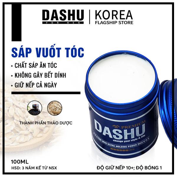 Clay Wax Sáp vuốt tóc nam Hàn Quốc cao cấp siêu định hình độ cứng 10+, bóng nhẹ Dashu For Men Premium Ultra Holding Power 100ml, sap tốt cho tóc siêu ngắn, ngắn và ngắn vừa, dễ vuốt dựng, vuốt undercut, vuốt phồng.