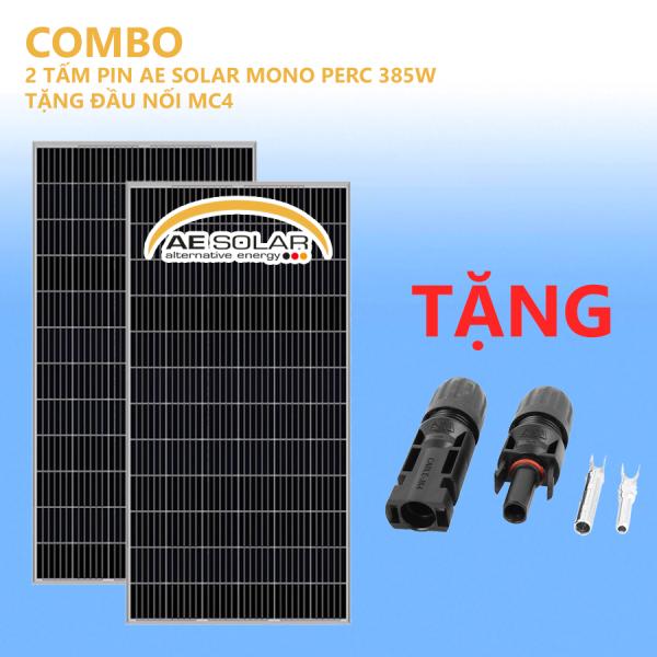 COMBO 2 TẤM PIN MONO PERC 385W AE SOLAR TẶNG ĐẦU NỐI MC4