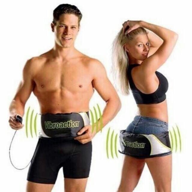 Đai massage thon gọn bụng Vibroaction (Đen) + Tặng kèm 1 máy Massage mặt 5 in 1
