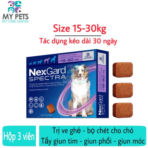 NEXGARD SPECTRA Thuốc trị ve ghẻ, bọ chét, demodex, tẩy giun cho chó - Hộp 3 viên (15-30kg)