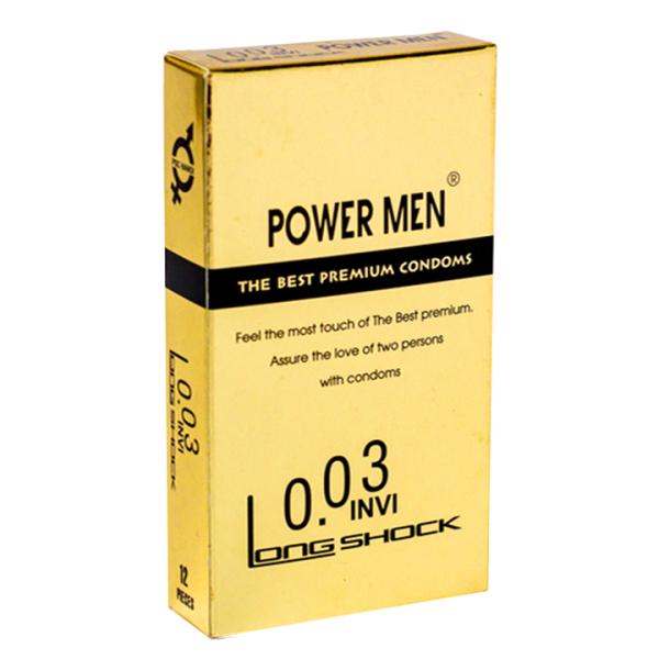 Bao cao su Powermen INVI 0.03 Longshock Hộp 12 bao Kéo dài thời gian cao cấp