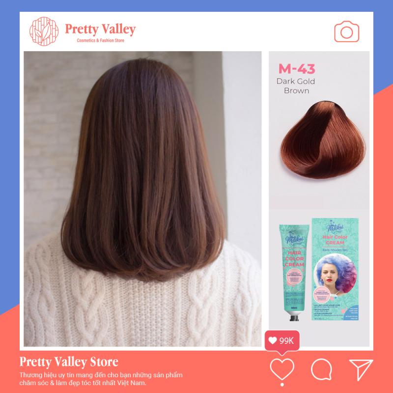 [HCM]Kem nhuộm tóc cao cấp màu nâu hạt dẻ Molokai 60ml [ TẶNG KÈM GĂNG TAY + CHAI OXY TRỢ DƯỠNG TÓC ] nhập khẩu