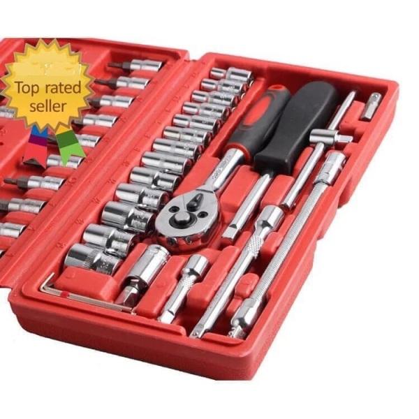 Bộ dụng cụ sửa chữa đa năng 46 chi tiết mở ốc vít, vặn bulong cốt 1/4 [LOẠI TỐT] Bộ dụng cụ mở bu lông ốc vít, bộ dụng cụ sửa chữa ô tô xe máy ô tô