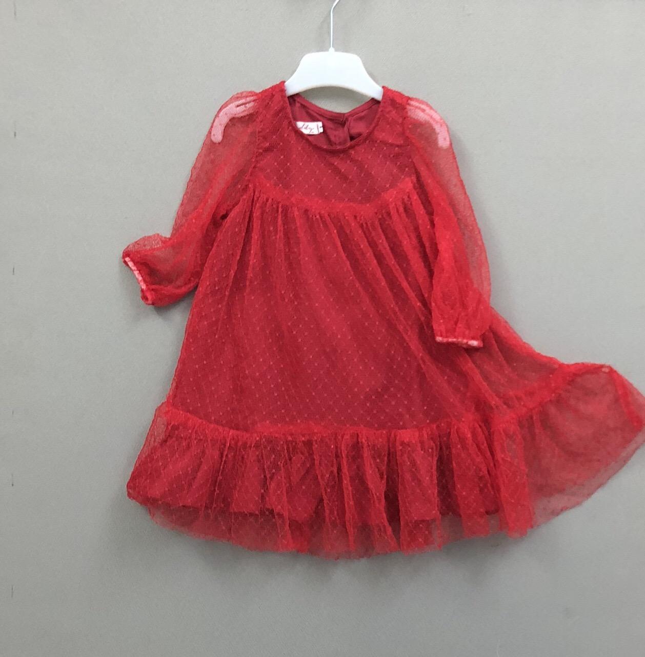Giá bán Đầm lưới bi tay lỡ thời trang bé gái - Màu đỏ (Size 1-8) bé 6 đến 22 kg