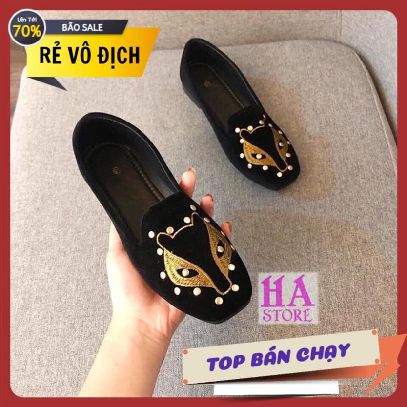 Giày bệt búp bê thêu hình cáo giày búp bê giày nữ giày đi bộ giày công sở giày đế bệt giá rẻ