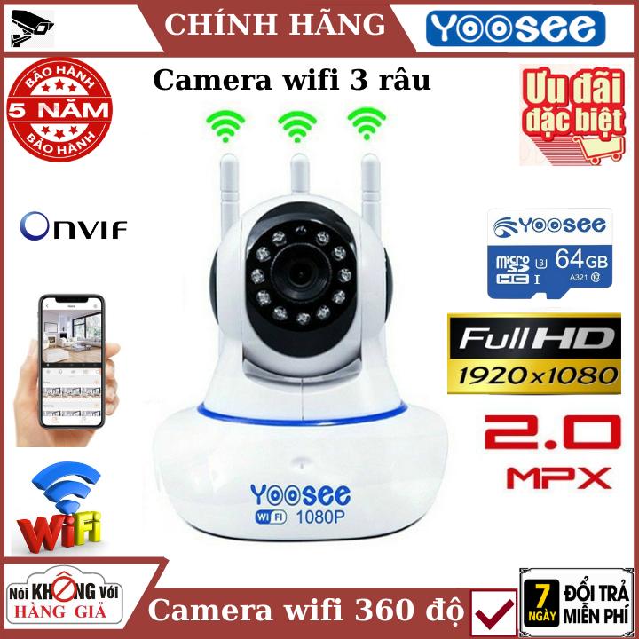 (Tùy Chọn Kèm thẻ nhớ 128GB - bảo hành 5 năm), Camera wifi yoosee 3 râu 2.0Mpx , Đàm thoại 2 chiều , cảnh báo chuyển động , xoay 360 độ , camera ip , camera 360 , camera an ninh , camera mini , camera chống trộm , camera yoosee , camera