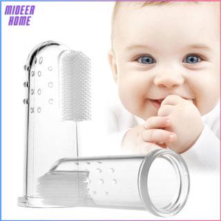 Bàn chải kèm tưa lưỡi rơ lưỡi cho bé xỏ ngón tay chất liệu Silicone an toàn tuyệt đối mềm dịu với nướu bé giúp vệ sinh răng miệng - Mideer Home thumbnail