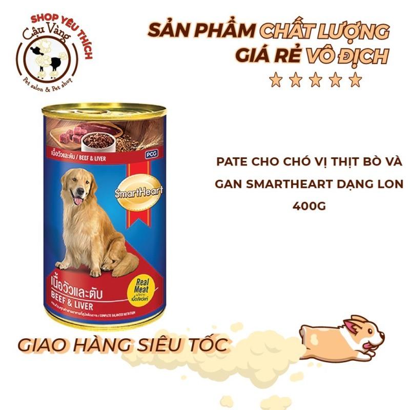 Pate SmartHeart Vị Bò + Gan và Vị Gà + Gan Lon 400Gr Cho Chó