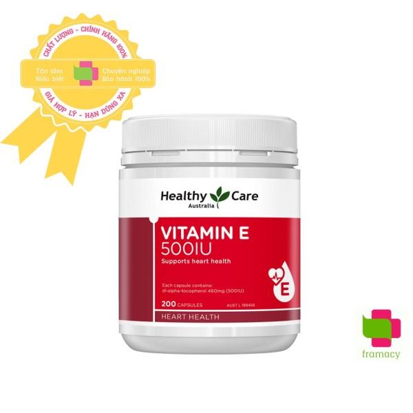 Viên uống Healthy Care Vitamin E 500IU, Úc (200v) hỗ trợ tái tạo, làm đẹp da và tóc cho người từ 12 tuổi