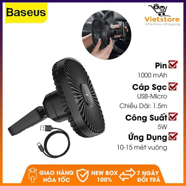 Quạt mini tích điện cầm tay hoặc gắn ghế sau ô tô Baseus Natural Wind Magnetic Rear Seat Fan dung lượng 1000mAh, xoay 360 độ với 2 chế độ gió tùy chỉnh - Phân phối bởi Vietstore