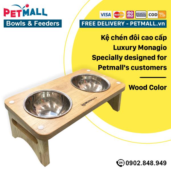 Kệ chén đôi cao cấp Luxury Monagio Specially designed for Petmalls customers - Wood Color