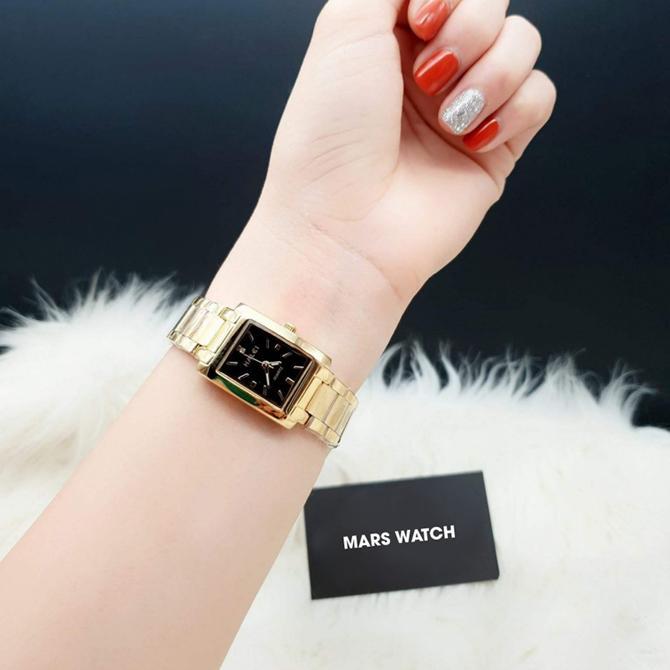 Đồng hồ nữ Halei mặt vuông nền đen sang trọng, chống nước 3ATM Nhật Bản