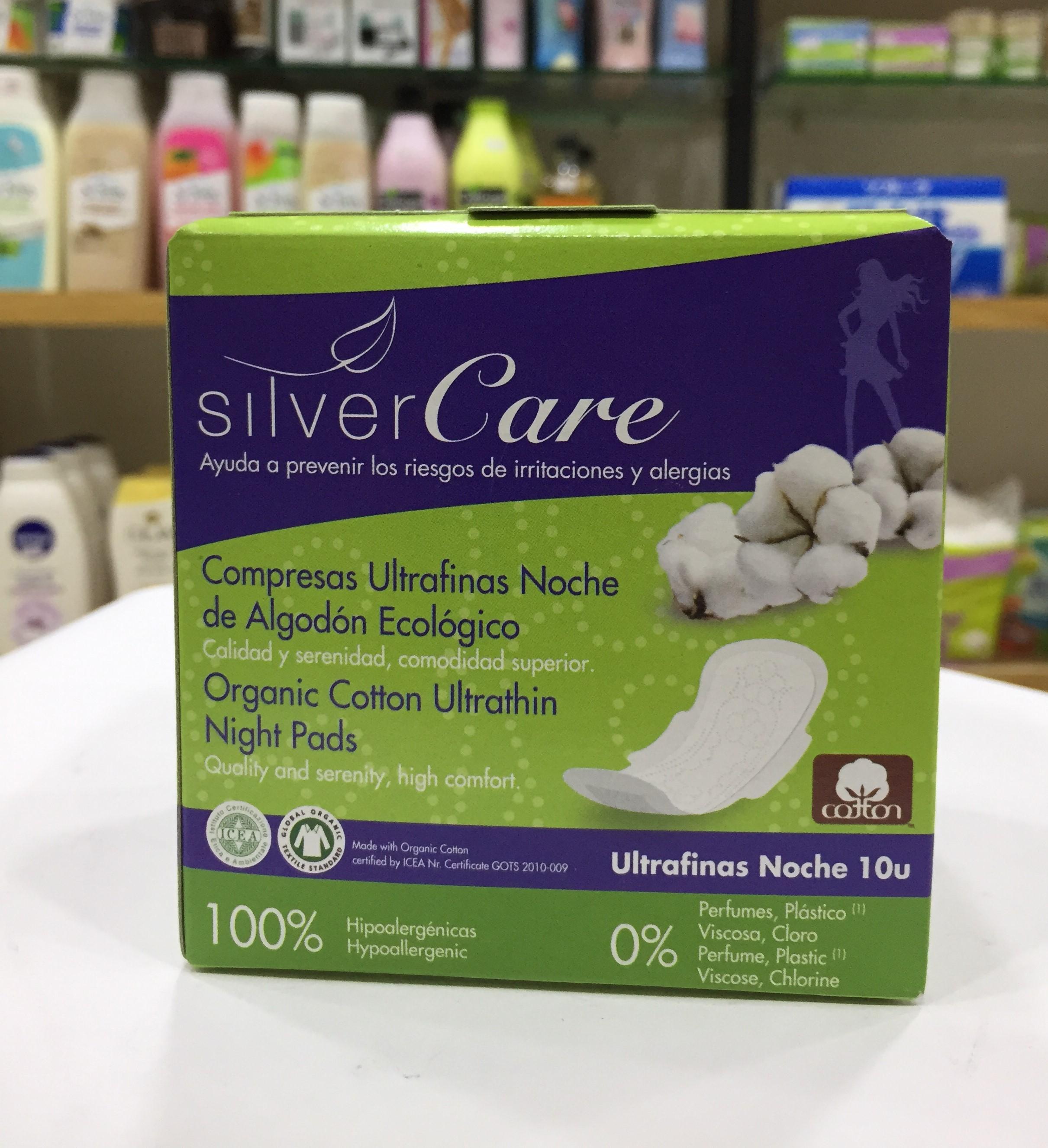 Băng vệ sinh hữu cơ siêu mỏng có cánh ban đêm Silvercare 10 miếng