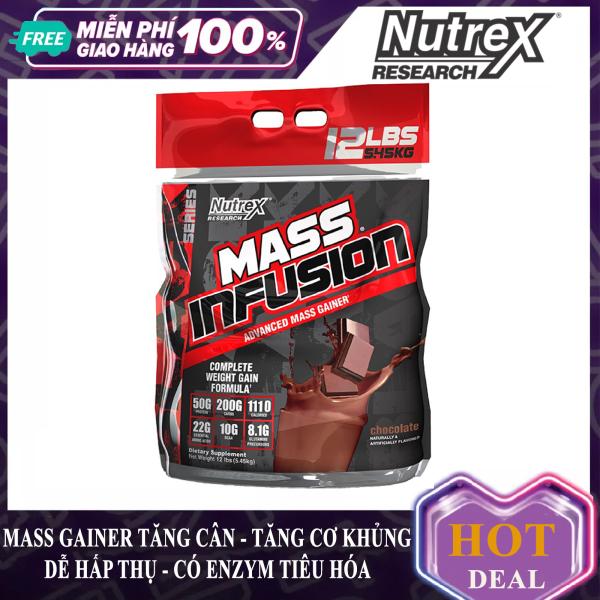 Sữa tăng cân tăng cơ Mass Infusion của Nutrex bịch lớn 5.45 kg có enzym tiêu hóa tăng hấp thu xây dựng và phát triển cơ bắp nhanh cho người gầy kén ăn khó hấp thu cần tăng cân nhanh và an toàn - thực phẩm bổ sung