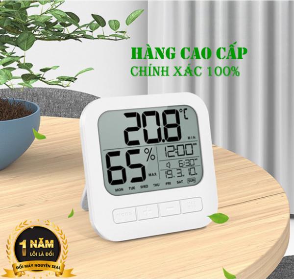 Nơi bán (Bảo hành 1 năm)Nhiệt ẩm kế MN020,nhiệt kế điện tử đo độ ẩm,nhiệt độ/có lịch , đồng hồ,lỗi 1 đổi q